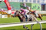 Jockey Karis Teetan riding #3 Hot King Prawn during Hong Kong Racing at Sha Tin Racecourse on October 01, 2018 in Hong Kong, Hong Kong. Photo by Yu Chun Christopher Wong / Power Sport Images