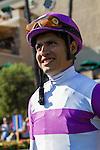 JUL 30,2014:Wake Up Nick,ridden by Mario Gutierrez,wins the Graduation Stakes at Del Mar in Del Mar,CAThe winning jockey,Mario Gutierrez. Kazushi Ishida/ESW/CSM