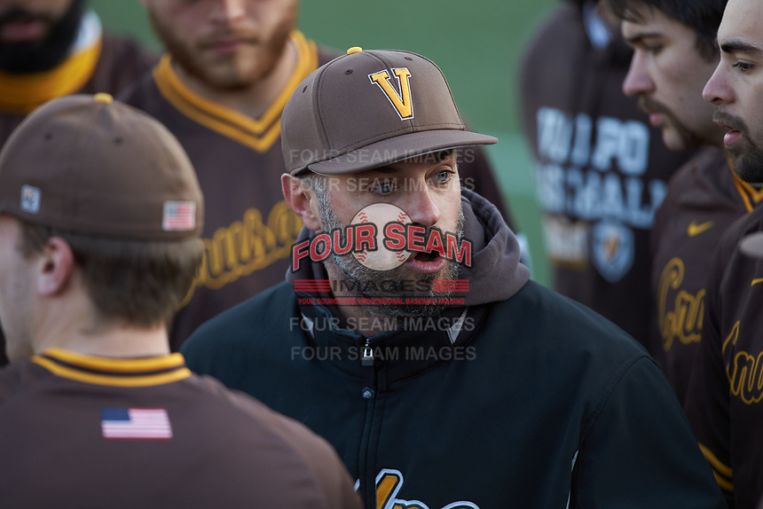 Valparaiso Crusaders assistant coach Kory Winter addresses the team during the game against the Western Kentucky Hilltoppers at Nick Denes Field on March 19, 2021 in Bowling Green, Kentucky. (Brian Westerholt/Four Seam Images)