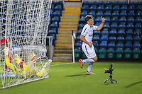 Dayle Southwell of Wycombe Wanderers celebrates scoring his team's first goal against Brentford to make it 1-1  during the Friendly match between Wycombe Wanderers and Brentford at Adams Park, High Wycombe, England on 19 July 2016. Photo by David Horn PRiME Media Images.
