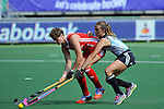 The Hague, Netherlands, June 08: During the field hockey group match (Women - Group B) between England and Argentina on June 8, 2014 during the World Cup 2014 at Kyocera Stadium in The Hague, Netherlands. Final score 1-2 (1-1)  (Photo by Dirk Markgraf / www.265-images.com) *** Local caption *** Sally Walton #23 of England, Carla Rebecchi #11 of Argentina