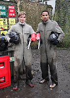 Pictured L-R: Players Joe Allen and Scott Sinclair in full gear.Tuesday 25 January 2011<br /> Re: Swansea City FC footballers and staff have spend a morning at Teamforce Paintball in Llangyfelach near Swansea south Wales.