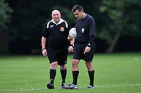 Two match referees talk before kick-off of Hackney & Leyton Sunday League matches at Victoria Park - 07/09/08 - MANDATORY CREDIT: Gavin Ellis/TGSPHOTO - Self billing applies where appropriate - Tel: 0845 094 6026