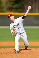 Davidson Wildcats relief pitcher Justin Charles (36) in action against the Western Carolina Catamounts at Wilson Field on March 10, 2013 in Davidson, North Carolina.  The Catamounts defeated the Wildcats 5-2.  (Brian Westerholt/Four Seam Images)