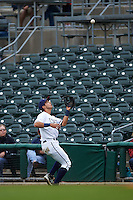 NW Arkansas Naturals second baseman Kenny Diekroeger (8) catches a popup during a game against the San Antonio Missions on May 30, 2015 at Arvest Ballpark in Springdale, Arkansas.  San Antonio defeated NW Arkansas 5-1.  (Mike Janes/Four Seam Images)