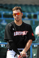University of Louisville Cardinals infielder Alex Chittenden (4) before a game against the Temple University Owls at Campbell's Field on May 10, 2014 in Camden, New Jersey. Temple defeated Louisville 4-2.  (Tomasso DeRosa/ Four Seam Images)