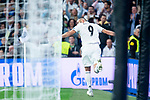 Real Madrid Karim Benzema celebrating a goal during UEFA Champions League match between Real Madrid and FC Viktoria Plzen at Santiago Bernabeu Stadium in Madrid, Spain. October 23, 2018. (ALTERPHOTOS/Borja B.Hojas)