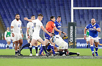 31st October 2020, Olimpico Stadium, Rome, Italy; Six Nations International Rugby Union, Italy versus England;  Owen Farrell (England) kicks for field position