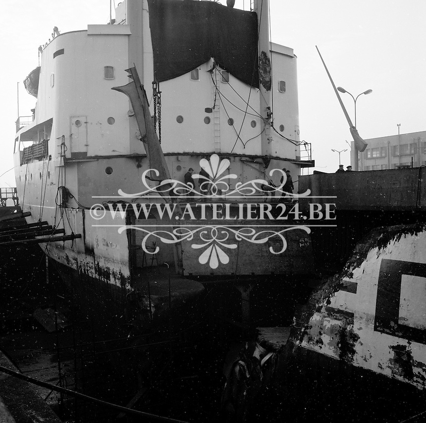 Februari 1970.  Scheepswerf Mercantile Marine Engineering in Antwerpen.  Schip Styrso.