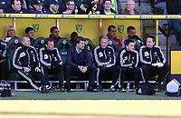 Pictured L-R: Adrian Tucker, Morten Wieghorst, Michael Laudrup, Alan Curtis, Rich Buchanan, and Jez McClusky. Saturday 06 April 2013<br /> Re: Barclay's Premier League, Norwich City FC v Swansea City FC at the Carrow Road Stadium, Norwich, England.