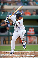 Lakeland Flying Tigers Isaac Paredes (3) at bat during a game against the Tampa Tarpons on April 5, 2018 at Publix Field at Joker Marchant Stadium in Lakeland, Florida.  Tampa defeated Lakeland 4-2.  (Mike Janes/Four Seam Images)
