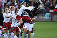 18 November 2007: Allison McCann, Alicia Jenkins, Kristin Stannard, Ali Riley and Kelley O'Hara congratulate Allison Falk and Alex Gamble during Stanford's 1-1 double overtime shootout win over California in the second round of the NCAA Division 1 Women's Soccer Championships at Laird Q. Cagan Stadium in Stanford, CA.