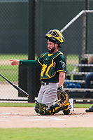 Oakland Athletics catcher Beau Taylor (22) during an exhibition game against Team Italy at Lew Wolff Training Complex on October 3, 2018 in Mesa, Arizona. (Zachary Lucy/Four Seam Images)