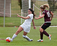 NWA Democrat-Gazette/BEN GOFF @NWABENGOFF<br /> Blake Pruitt (left) of Arkansas and Kayleigh Henry of Mississippi State go after the ball on Sunday Sept. 20, 2015 during the match at Razorback Field in Fayetteville.
