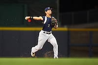 Pensacola Blue Wahoos shortstop Juan Perez (2) throws to first during a game against the Mississippi Braves on May 27, 2015 at Trustmark Park in Pearl, Mississippi.  Pensacola defeated Mississippi 7-5 in fourteen innings.  (Mike Janes/Four Seam Images)