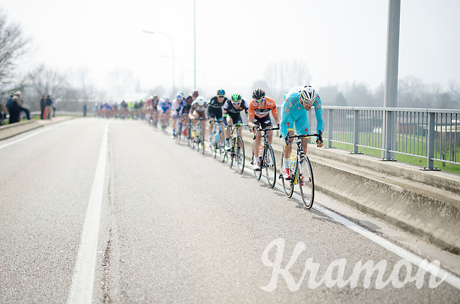 Laurens De Vreese (BEL/Astana) pulling hard at the front of the peloton. It won't be long now for him to create the longday breakaway group. He will survive the longest and stay away until 4km before the finish line <br /> <br /> 103rd Scheldeprijs 2015