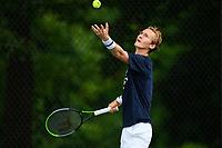 WASHINGTON, DC - AUGUST 1: Sebastian Korda (USA) practices ahead of the 2021 Citi Open at Rock Creek Park Tennis Center on August 1, 2021 in Washington, DC.