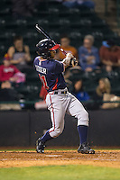 Ray-Patrick Didder (11) of the Rome Braves follows through on his swing against the Hickory Crawdads at L.P. Frans Stadium on May 12, 2016 in Hickory, North Carolina.  The Braves defeated the Crawdads 3-0.  (Brian Westerholt/Four Seam Images)