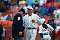 SAN FRANCISCO, CA - Manager Roger Craig of the San Francisco Giants argues with home plate umpire Ron Barnes during a turn back the clock game against the Chicago Cubs at Candlestick Park in San Francisco, California on June 23, 1991. (Photo by Brad Mangin)