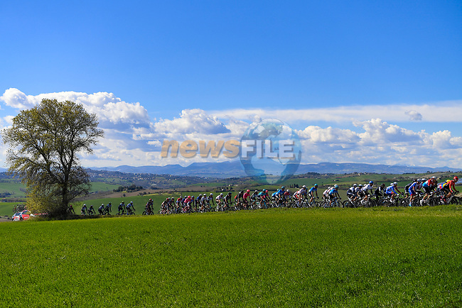The peloton during Stage 6 of Tirreno-Adriatico Eolo 2021, running 169km from Castelraimondo to Lido di Fermo, Italy. 15th March 2021. <br /> Photo: LaPresse/Marco Alpozzi | Cyclefile<br /> <br /> All photos usage must carry mandatory copyright credit (© Cyclefile | LaPresse/Marco Alpozzi)