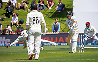 Will Young is caught behind by Jason Holder during day one of the International Test Cricket match between the New Zealand Black Caps and West Indies at the Basin Reserve in Wellington, New Zealand on Friday, 11 December 2020. Photo: Dave Lintott / lintottphoto.co.nz