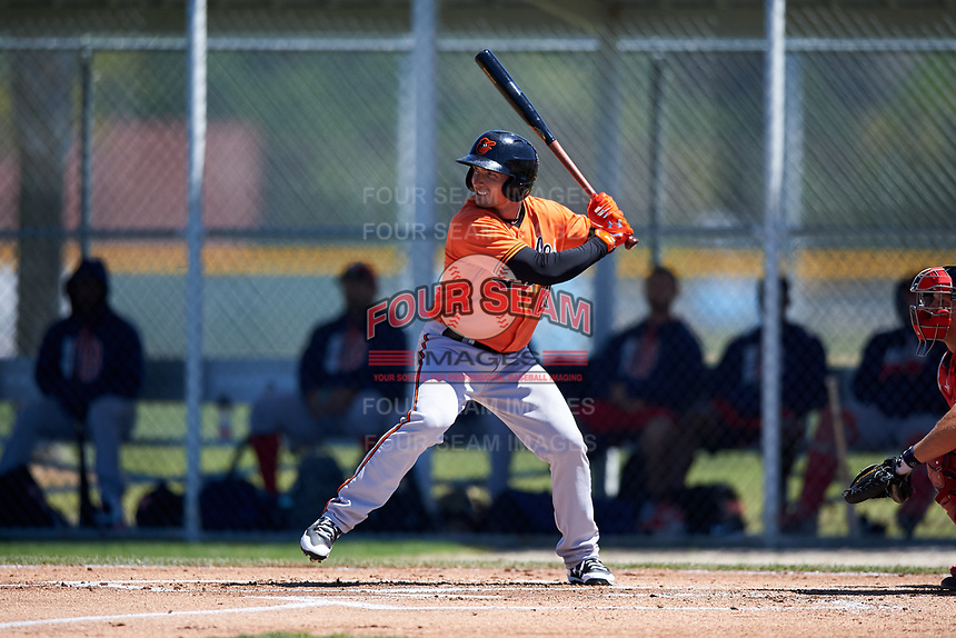 Baltimore Orioles left fielder Tucker Nathans (28) at bat during a minor league Spring Training game against the Boston Red Sox on March 16, 2017 at the Buck O'Neil Baseball Complex in Sarasota, Florida.  (Mike Janes/Four Seam Images)
