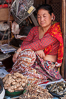 Kathmandu, Nepal.  A Nepali Market Vendor in Durbar Square Dozes while Awaiting Customers.  She is selling ginger, dried fish, and other foodstuffs.