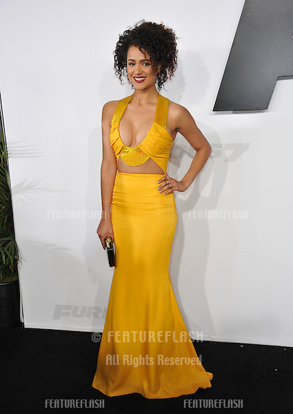 """Nathalie Emmanuel at the world premiere of her movie """"Furious 7"""" at the TCL Chinese Theatre, Hollywood.<br /> April 1, 2015  Los Angeles, CA<br /> Picture: Paul Smith / Featureflash"""