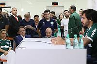SÃO PAULO, SP, 06.02.2019: FUTEBOL-PALMEIRAS: Maurício Galiotte (Presidente), Ricardo Goulart (Atacante), Leila Pereira (Patrocinadora) e Alexandre Mattos (Diretor), participam da apresentação do Atacante (Goulart) do Palmeiras, em coletiva de imprensa no Centro Universitário FAM, nesta quarta-feira, 6. (Foto: Charles Sholl/Brazil Photo Press)