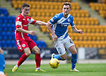 St Johnstone v Stirling Albion…30.07.16  McDiarmid Park. Betfred Cup<br />Liam Craig gets around Sean Dickson<br />Picture by Graeme Hart.<br />Copyright Perthshire Picture Agency<br />Tel: 01738 623350  Mobile: 07990 594431