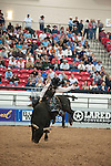 January 2009: Bullrider Cooper Kanngiesser riding Hot Diggity Damn into first place at the CBR World Championships in Las Vegas