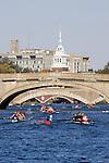 Rowing, Boston, Cambridge, Charles River, Head of the Charles Regatta, Club Fours Women, River Street Bridge, Western Avenue Bridge and the Weeks Footbridge, Massachusetts, USA. Saturday October 21, 2006