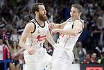 Real Madrid's Sergio Rodriguez (l) and Jaycee Carroll celebrate during Liga Endesa ACB match.Apri 12,2015. (ALTERPHOTOS/Acero)