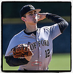 Starting pitcher Jake Zoller (12) of the Wofford Terriers delivers a pitch in a game against the Presbyterian Blue Hose on Wednesday, March 6, 2019, at the PC Baseball Complex, Clinton, South Carolina. PC won, 5-4. (Tom Priddy/Four Seam Images)