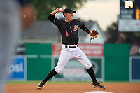 Batavia Muckdogs third baseman Andrew Turner (9) throws to first base during a NY-Penn League game against the State College Spikes on July 2, 2019 at Dwyer Stadium in Batavia, New York.  Batavia defeated State College 1-0.  (Mike Janes/Four Seam Images)