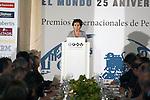 """King Felipe of Spain and Queen Letizia of Spain attend 'XIII EDICIÓN DE LOS PREMIOS INTERNACIONALES DE PERIODISMO 2013 Y CONMEMORACIÓN DEL 25º ANIVERSARIO DEL DIARIO """"EL MUNDO"""" at The Westin Palace Hotel. <br /> <br /> October 20, 2014. (ALTERPHOTOS/Emilio Cobos)"""