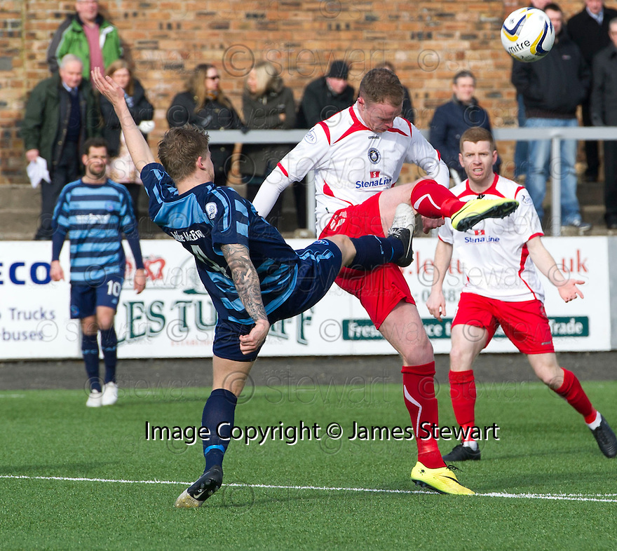 Forfar's Michael Travis goes in high on Stranraer's Sean Winter.