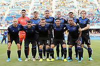SAN JOSE, CA - AUGUST 24: San Jose Earthquakes starting eleven prior to a Major League Soccer (MLS) match between the San Jose Earthquakes and the Vancouver Whitecaps FC  on August 24, 2019 at Avaya Stadium in San Jose, California.