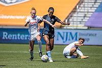 HERRIMAN, UT - JULY 18: Tori Huster #23 of Washington Spirit plays for the ball Imani Dorsey #28 of Sky Blue FC during a game between Sky Blue FC and Washington Spirit at Zions Bank Stadium on July 18, 2020 in Herriman, Utah.