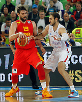 """Marc Gasol of Spain and Nenad Krstic of Serbia in action during European basketball championship """"Eurobasket 2013"""" quarter-final basketball game between Serbia and Spain in Stozice Arena in Ljubljana, Slovenia, on September 18. 2013. (credit: Pedja Milosavljevic  / thepedja@gmail.com / +381641260959)"""