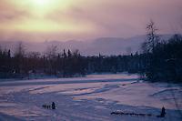 Sled Dog Teams on Skwenta River @ Sunset '85 Iditarod.AK