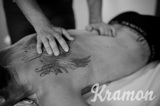 Michael Matthews (AUS/Orica-GreenEDGE) being treated by osteopathic therapist Andrew Gerrans during the 2nd restday of the 2015 Tour de France