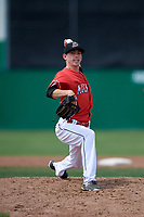 Batavia Muckdogs relief pitcher Martin Anderson (49) delivers a pitch during a game against the Lowell Spinners on July 15, 2018 at Dwyer Stadium in Batavia, New York.  Lowell defeated Batavia 6-2.  (Mike Janes/Four Seam Images)