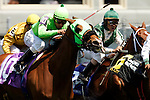 Horses compete in the Churchill Distaff Turf Mile at Churchill Downs in Louisville, Kentucky on May 6, 2006.  Barbaro, ridden by Edgar Prado, won the 132nd Kentucky Derby in the tenth race of the day....