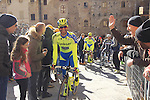 Tinkoff Saxo riders make their way to sign on before the start of the 2015 Strade Bianche Eroica Pro cycle race 200km over the white gravel roads from San Gimignano to Siena, Tuscany, Italy. 7th March 2015<br /> Photo: Eoin Clarke www.newsfile.ie