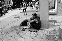 Toronto (ON) CANADA - July 2012 - homeless outside EATON CENTRE