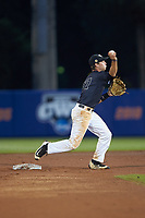Wake Forest Demon Deacons shortstop Bruce Steel (17) makes a throw to first base against the Florida Gators in Game Three of the Gainesville Super Regional of the 2017 College World Series at Alfred McKethan Stadium at Perry Field on June 12, 2017 in Gainesville, Florida. The Gators defeated the Demon Deacons 3-0 to advance to the College World Series in Omaha, Nebraska. (Brian Westerholt/Four Seam Images)