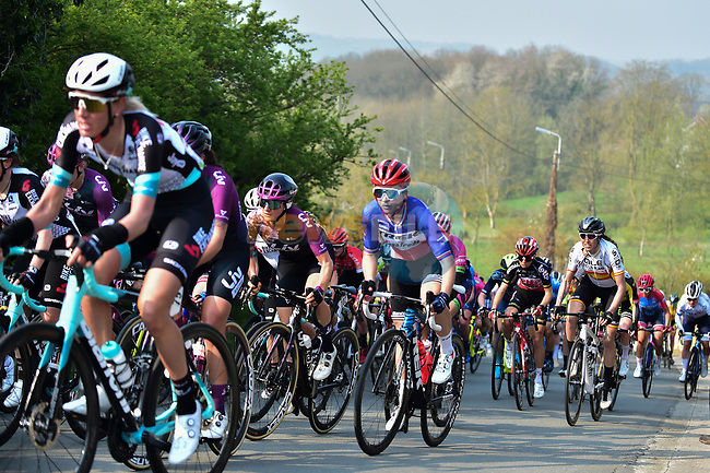 The peloton including French Champion Audrey Cordon Ragot (FRA) Trek-Segafredo during the 2021 Flèche-Wallonne Femmes, running 130.2 km from Huy to Huy, Belgium. 21st April 2021.  <br /> Picture: A.S.O./Gautier Demouveaux | Cyclefile<br /> <br /> All photos usage must carry mandatory copyright credit (© Cyclefile | A.S.O./Gautier Demouveaux)