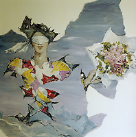 A mural in surrealist style by Dimitri Bouchene, one of a series displayed in the Duchess of Windsor's bathroom which complement the decorative scheme