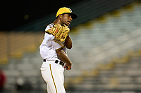 Bradenton Marauders pitcher Oliver Mateo (43) celebrates closing out Game Two of the Low-A Southeast Championship Series against the Tampa Tarpons on September 22, 2021 at LECOM Park in Bradenton, Florida.  (Mike Janes/Four Seam Images)